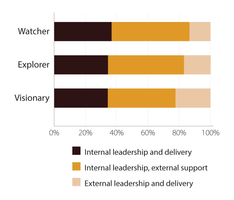 Visionaries are more likely to partner on digital initiatives