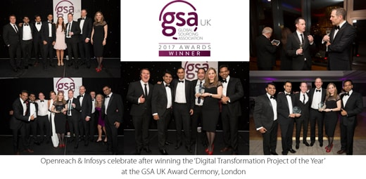 Openreach and Infosys win the 'Digital Transformation Project of the Year' award at the GSA UK Awards London, 2017